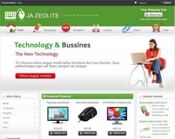 JA Zeolite - Virtuemart inside go shopping with Joomla