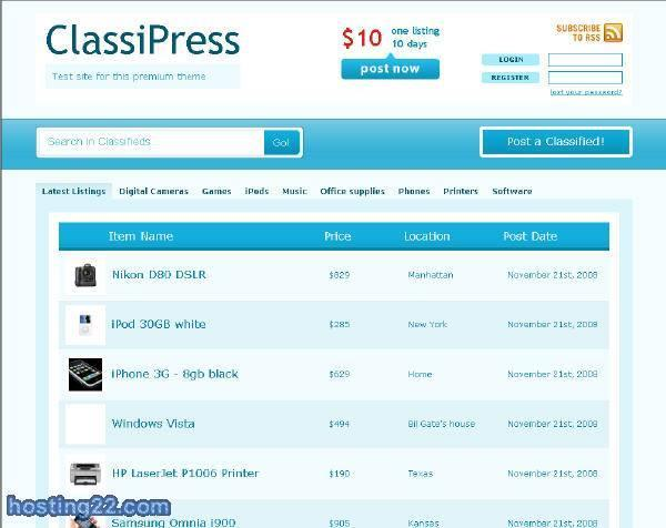 ClassiPress premium theme version 2.01 November 08