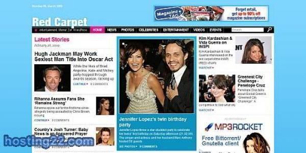Red Carpet Magazine Style Wordpress Theme