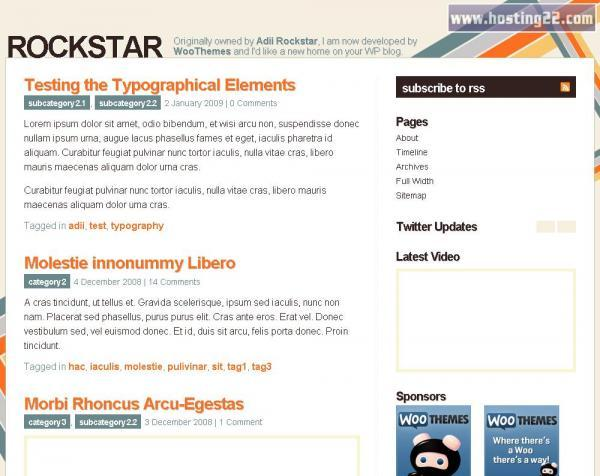 Rockstar custom design personal blog Premium Wordpress Theme